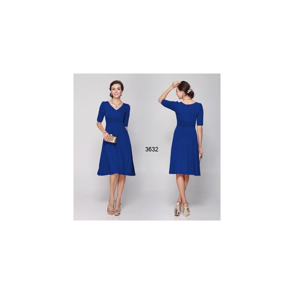 54db8d4b2922 Ever-Pretty Modré společenské šaty s rukávy
