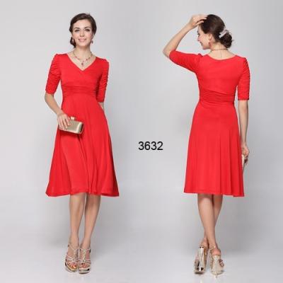 Červené společenské šaty s rukávy