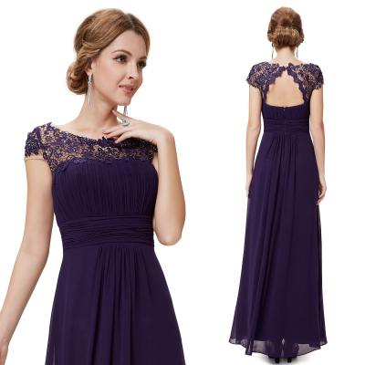 Dlouhé fialové společenské šaty s krajkou