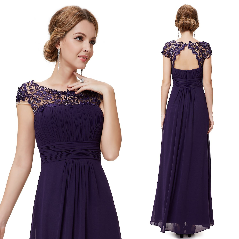 Dlouhé fialové společenské šaty s krajkou · Rychlý náhled 4d123affec4
