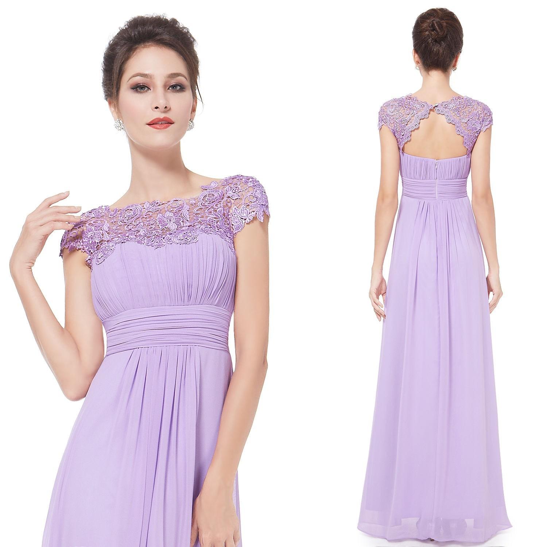 Ever-Pretty Dlouhé fialkové společenské šaty s krajkou 245fead785