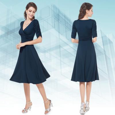 Tmavě modré společenské šaty s rukávy