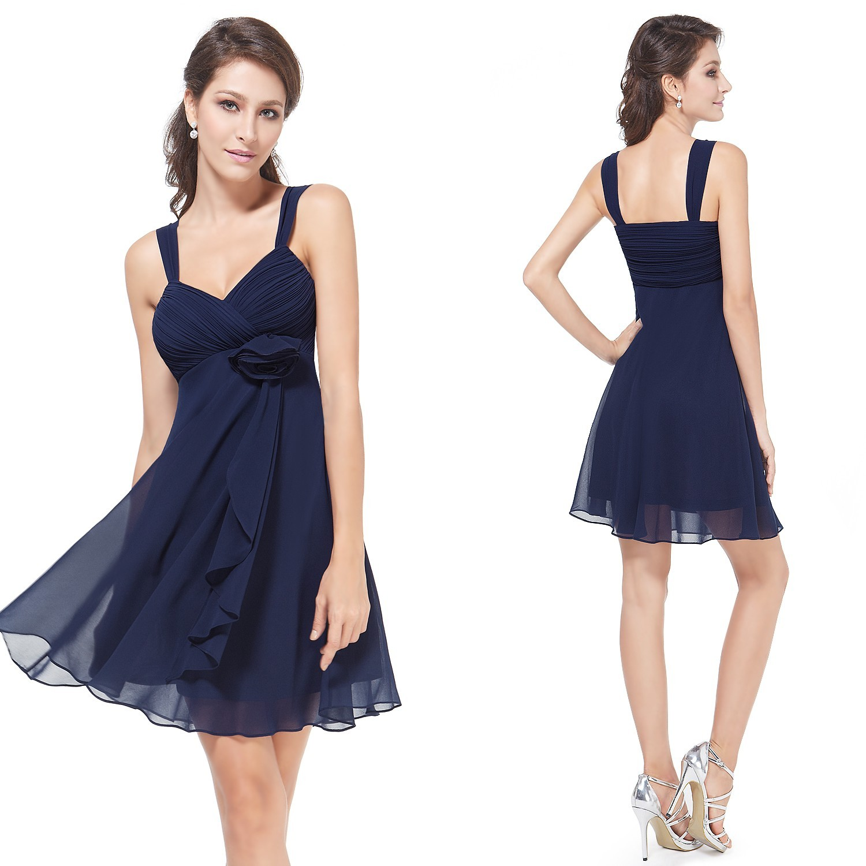 274f61a3f741 Ever-Pretty Šifonové tmavě modré koktejlové šaty