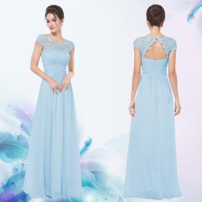 Dlouhé světle modré společenské šaty s krajkou