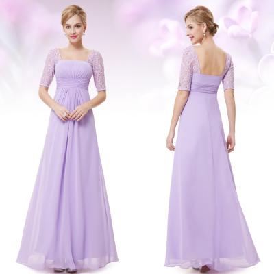 Dlouhé fialkové večerní šaty s krátkými rukávy