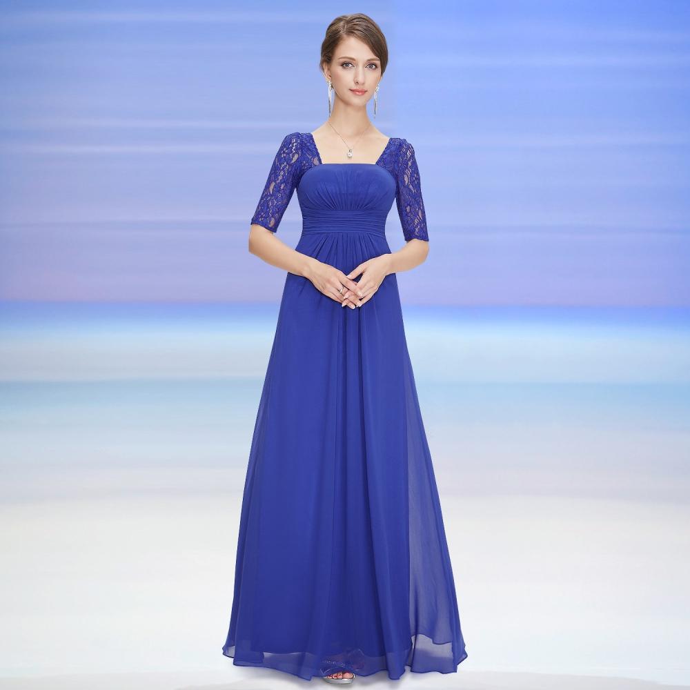 Dlouhé modré večerní šaty s krátkými rukávy