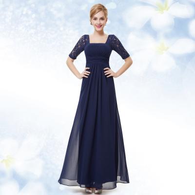 Dlouhé tmavě modré večerní šaty s krátkými rukávy