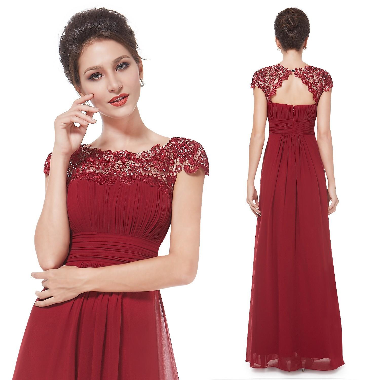 0b432446fbf Dlouhé vínové společenské šaty s krajkou