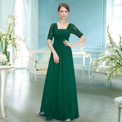 Dlouhé zelené večerní šaty s krátkými rukávy