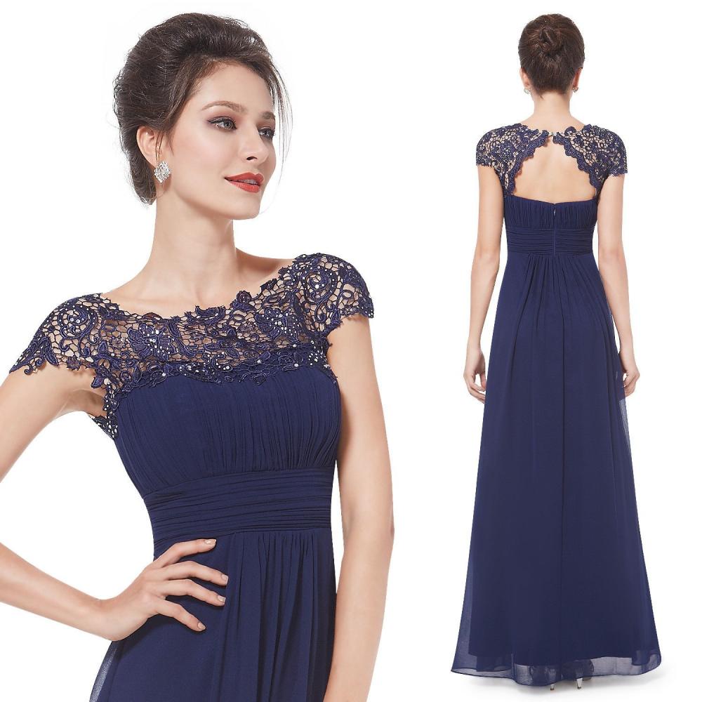 Ever-Pretty Dlouhé tmavě modré společenské šaty s krajkou 54878510a7