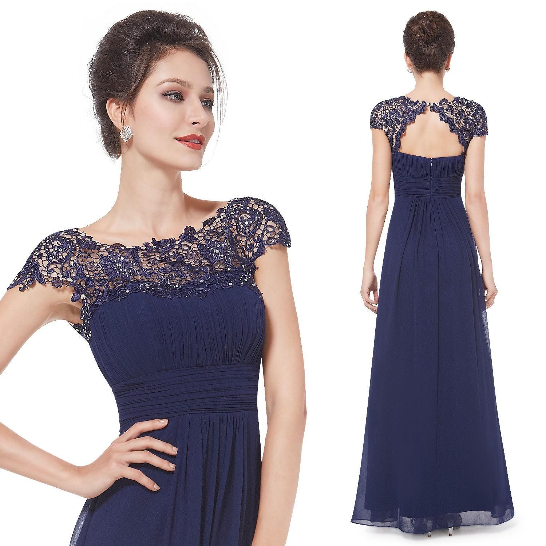 a338b911f5c2 Ever-Pretty Dlouhé tmavě modré společenské šaty s krajkou