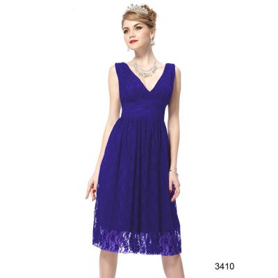 Modré krajkové koktejlové šaty