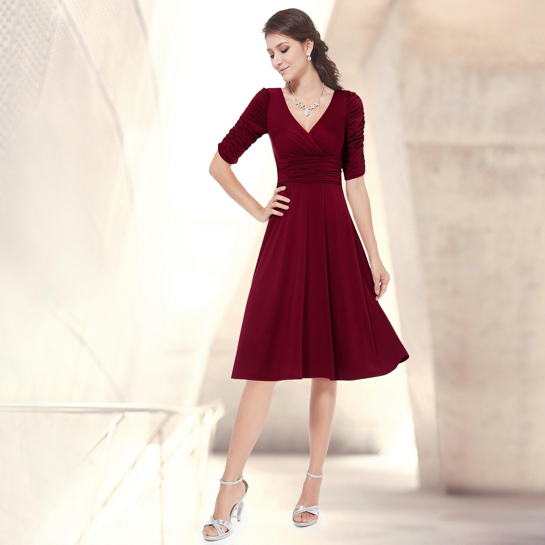 8a49e74b652 Ever-Pretty Vínové společenské šaty s rukávy