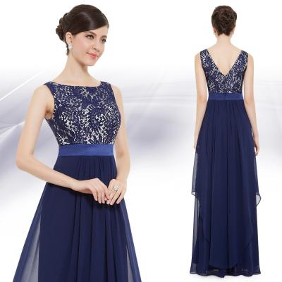 Dlouhé tmavě modré šaty s krajkovým živůtkem