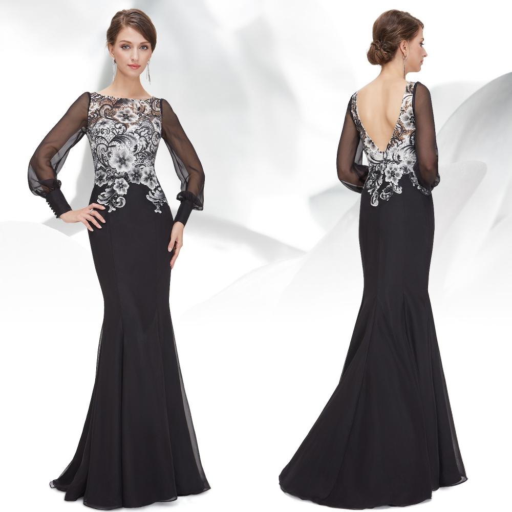 Černo bílé šaty s krajkovým živůtkem a vlečkou