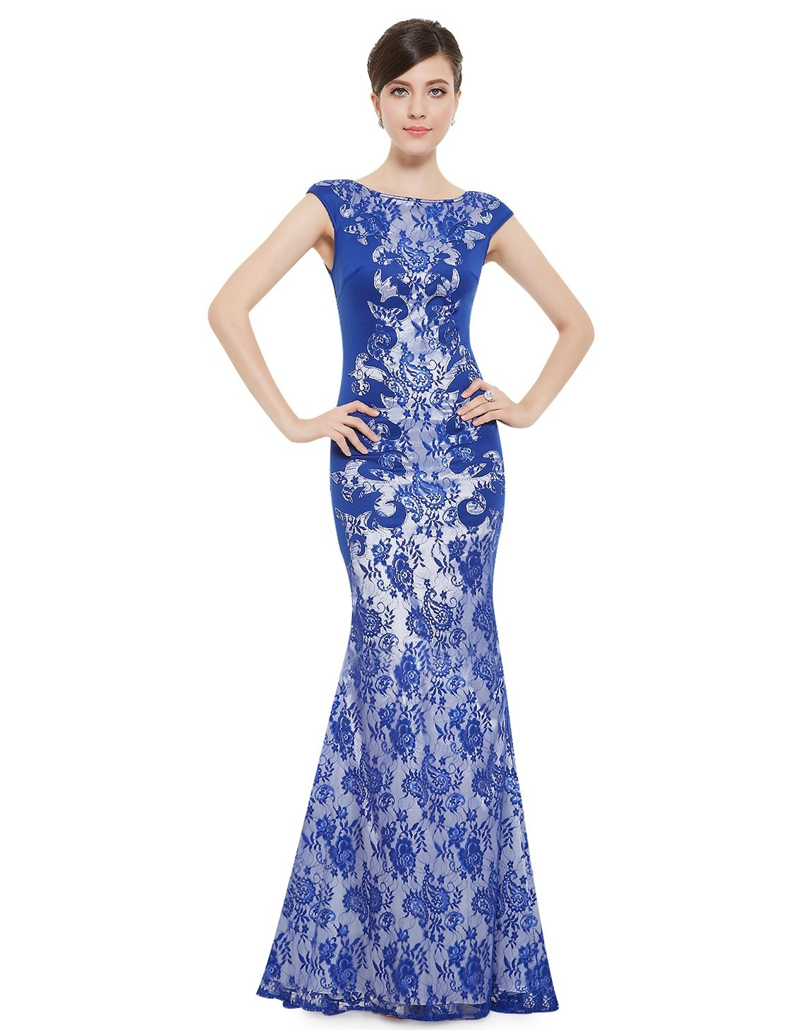 Ever-Pretty Dlouhé modré siluetové šaty 83e3bf0b7e