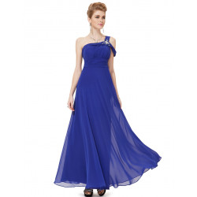 Dlouhé modré společenské šaty