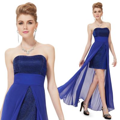 Modré společenské mini šaty s dlouhou šifonovou sukní