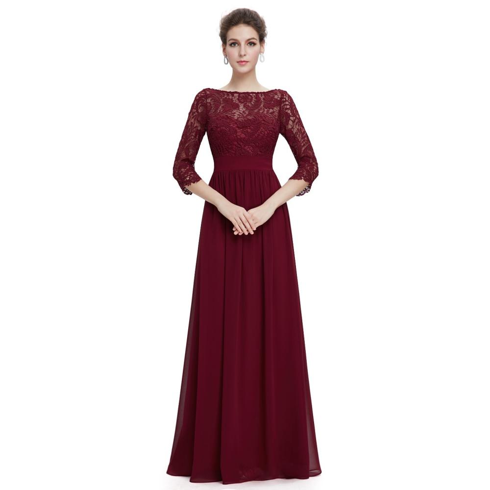 b5cb720288b Ever-Pretty Dlouhé vínové šaty s 3 4 krajkovými rukávy