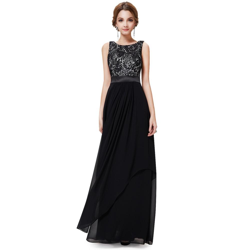 3b21b18e5d Ever-Pretty Dlouhé černé šaty s krajkovým živůtkem