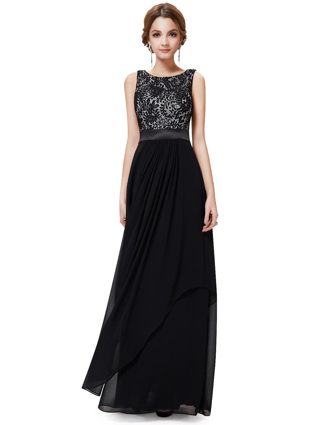 Ever-Pretty Dlouhé černé šaty s krajkovým živůtkem 83d1b19d27