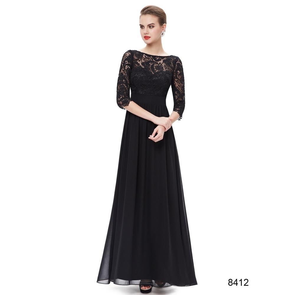 Ever-Pretty Dlouhé černé šaty s 3 4 krajkovými rukávy c97cab7dbc