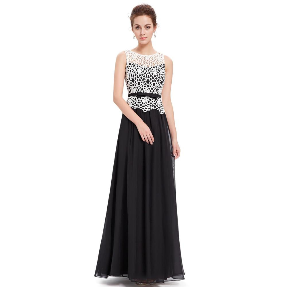 61932bc1443 Ever-Pretty Černé dlouhé večerní šaty s krajkou