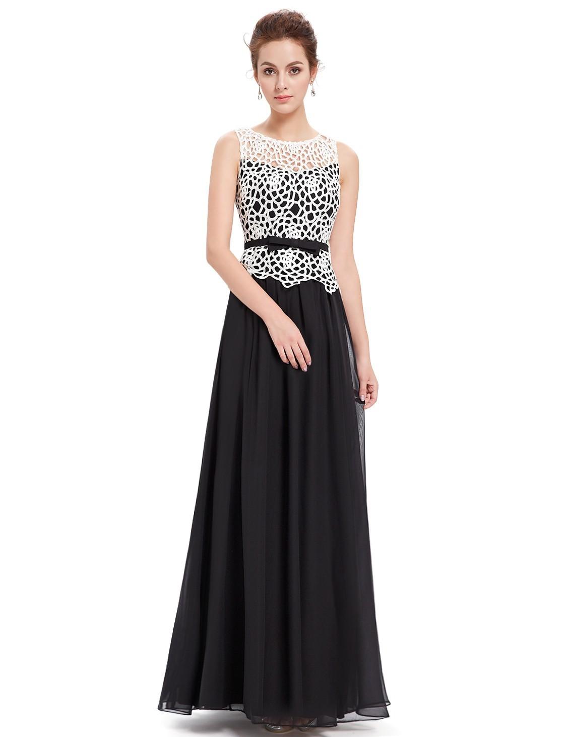 Ever-Pretty Černé dlouhé večerní šaty s krajkou 15562c71880