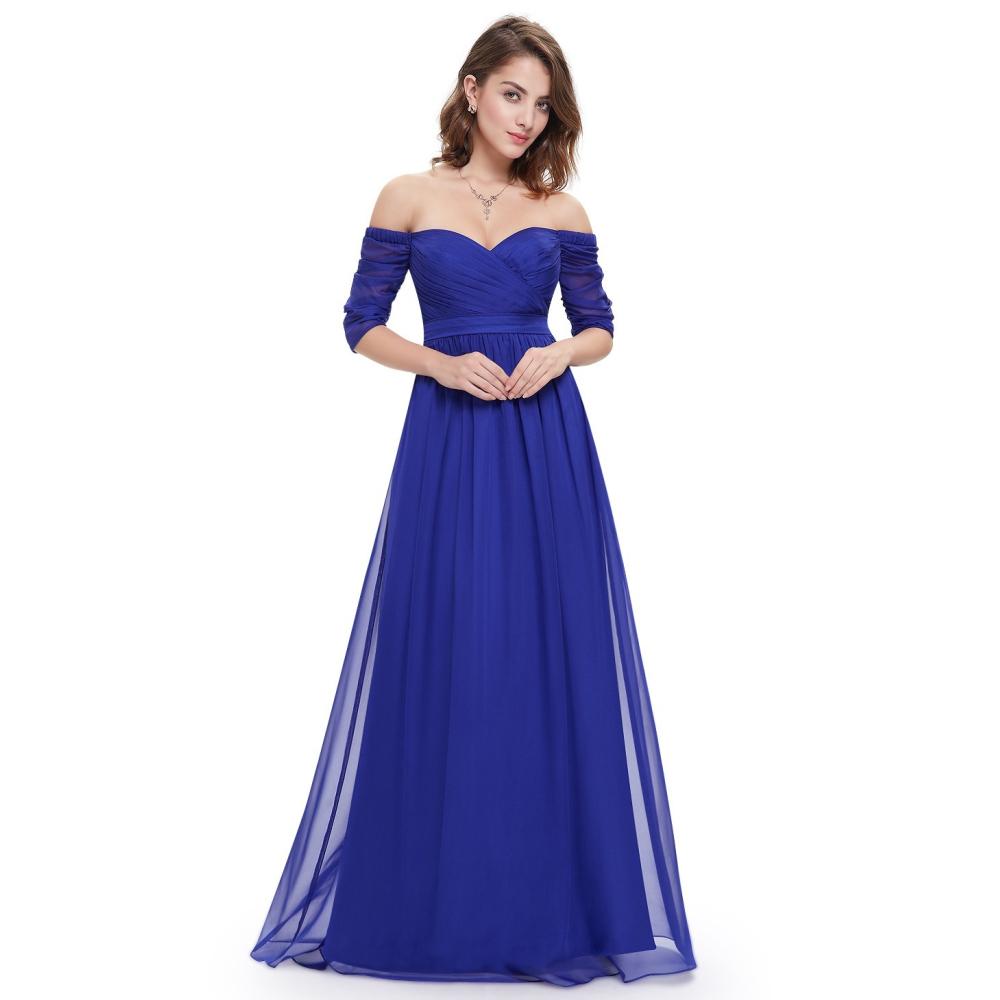 Dlouhé modré šaty s řasenými rukávy