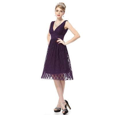Fialové krajkové koktejlové šaty