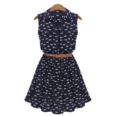 Modré šaty s potiskem