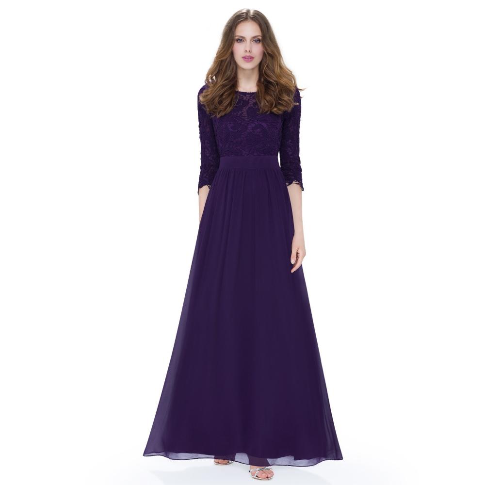 Ever-Pretty Dlouhé fialové šaty s 3 4 krajkovými rukávy 0d33679947