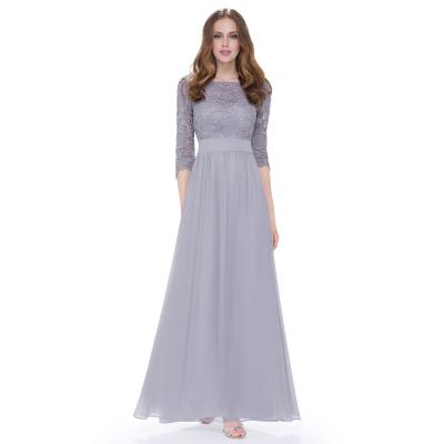 Dlouhé šedé šaty s 3/4 krajkovými rukávy