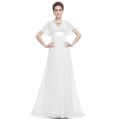 Bílé dlouhé společenské šaty s rukávky