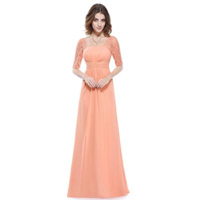 Dlouhé broskvové večerní šaty s krátkými rukávy