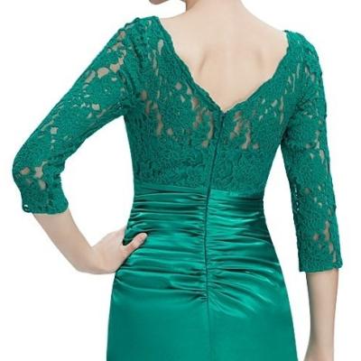 Zelené společenské šaty s krajkovými rukávy