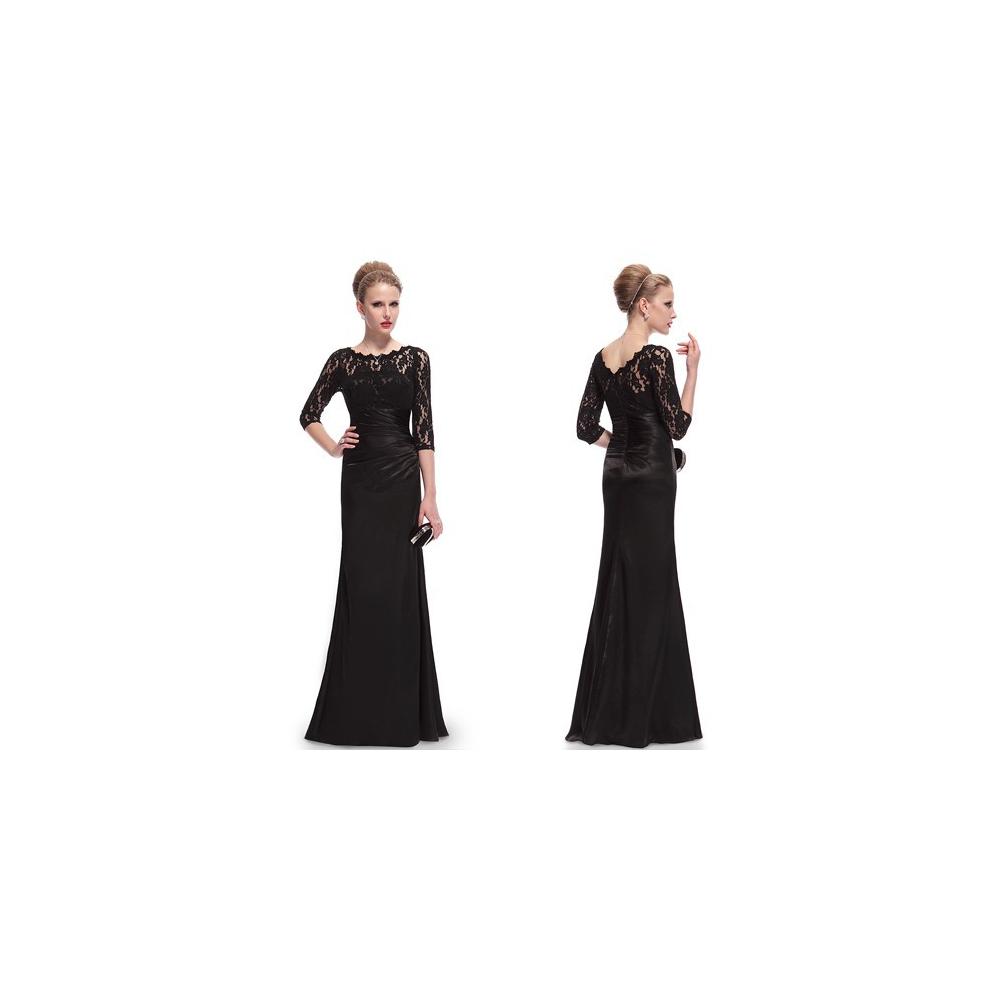 Černé společenské šaty s krajkovými rukávy
