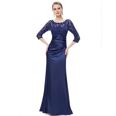Tmavě modré společenské šaty s krajkovými rukávy