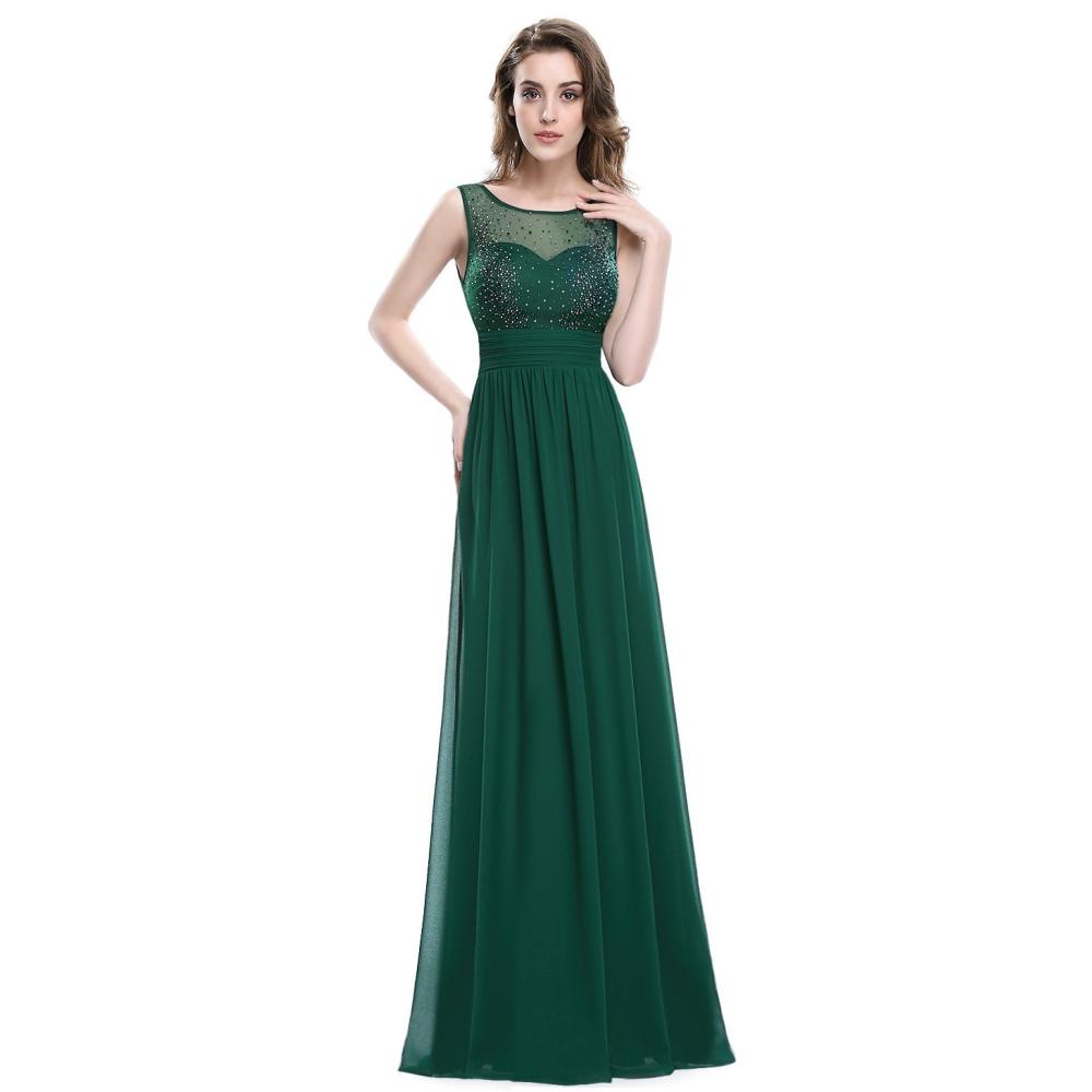 Dlouhé tmavě zelené šaty