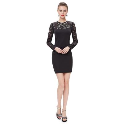 Černé společenské šaty s dlouhým rukávem