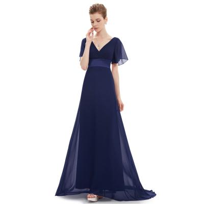 Tmavě modré dlouhé společenské šaty s rukávky