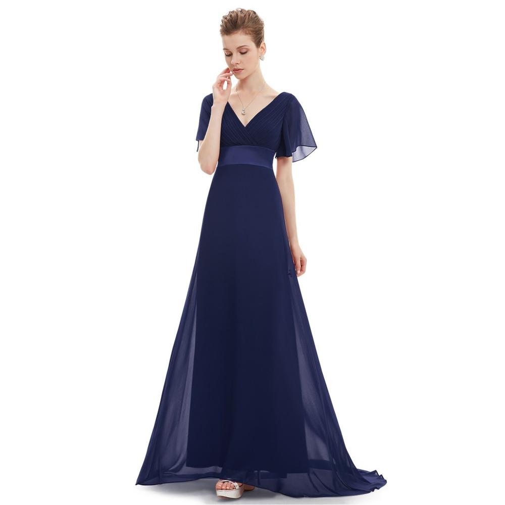 Ever-Pretty Tmavě modré dlouhé společenské šaty s rukávky a vlečkou 1956f476325