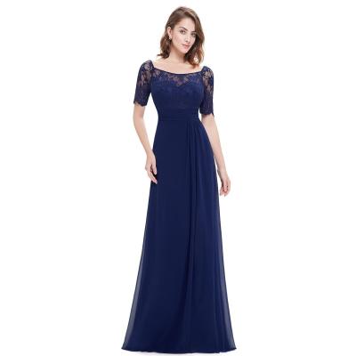 Dlouhé modré šaty s krátkými krajkovými rukávy