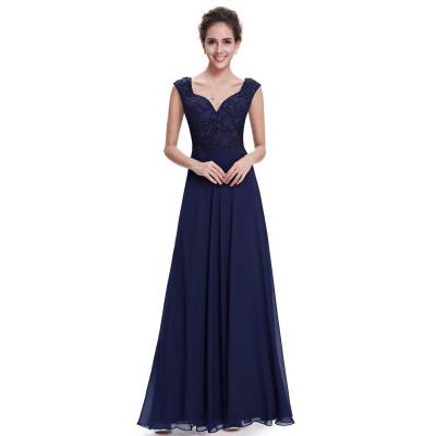 Tmavě modré dlouhé šaty s krajkovým živůtkem