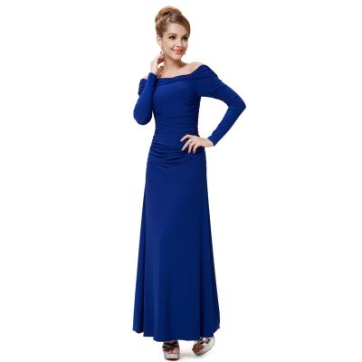 Modré společenské šaty s dlouhými rukávy