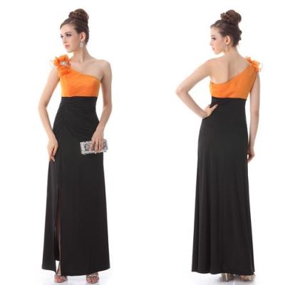 Černo oranžové společenské šaty