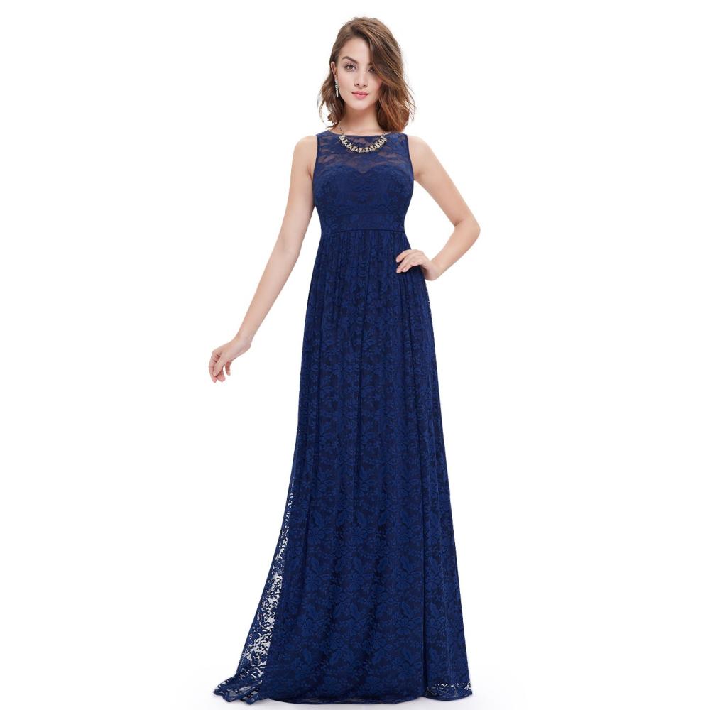 Dlouhé modré krajkové šaty