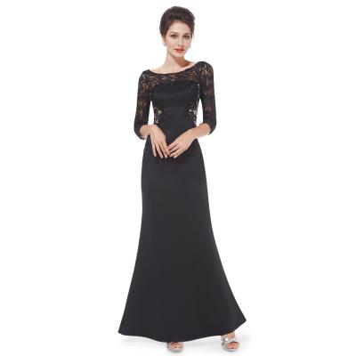 Černé dlouhé večerní šaty s krajkovým živůtkem a 3/4 rukávy