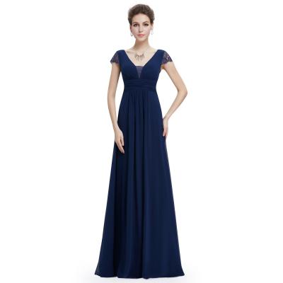 Dlouhé tmavě modré šaty s krátkými rukávky