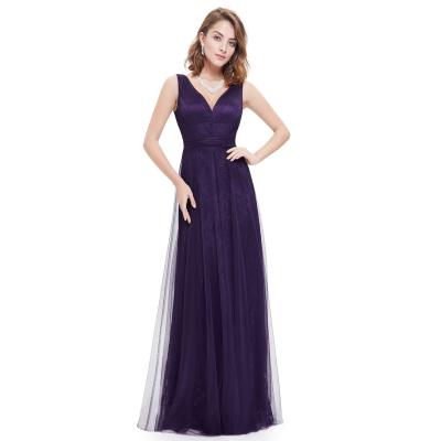 Tmavě fialové dlouhé šaty s krajkovo-tylovou sukní
